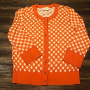Kate Spade Orange Gingham Somerset Cardigan